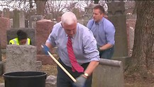 Mike Pence cleans Jewish Cemeteries desecrated by Anti-Semites